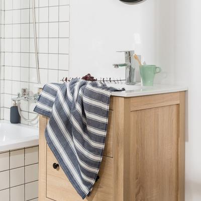 2018新款-条纹系列毛巾浴巾 MJ宽条纹-藏蓝浴巾70*140/450