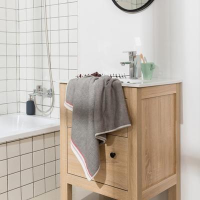 2018新款-条纹系列毛巾浴巾 MJ-深灰浴巾70*140/450克