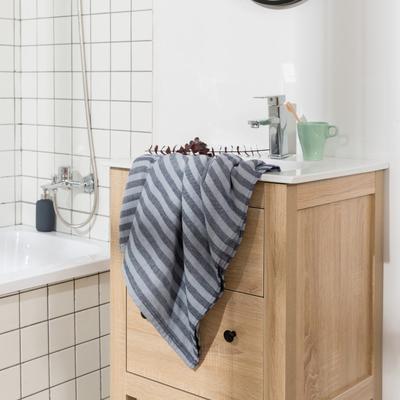 2018新款-条纹系列毛巾浴巾 MJ条纹-藏蓝浴巾70*140/450克
