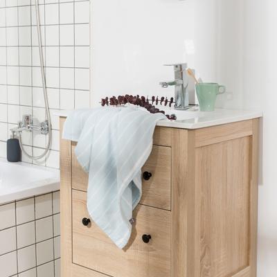 2018新款-条纹系列毛巾浴巾 MJ细条纹-浅蓝浴巾70*140/450