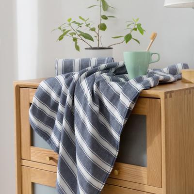2018新款-条纹系列毛巾浴巾 MJ宽条纹-藏蓝浴巾70*140/500