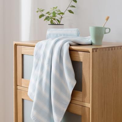 2018新款-条纹系列毛巾浴巾 MJ宽条纹-浅蓝浴巾70*140/500