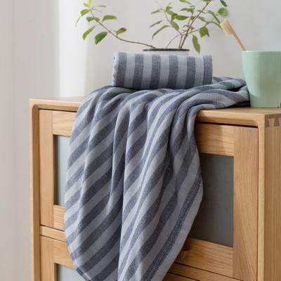 2018新款-条纹系列毛巾浴巾 MJ条纹-藏蓝浴巾70*140/500克