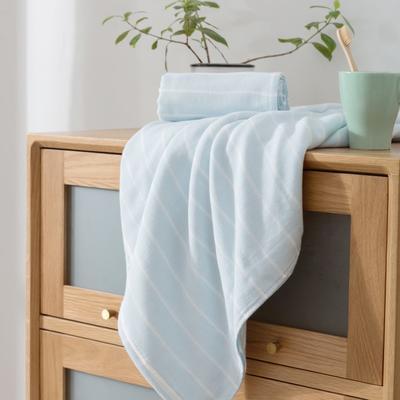 2018新款-条纹系列毛巾浴巾 MJ细条纹-浅蓝浴巾70*140/500