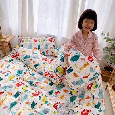 2019新款-牛奶棉四件套 床单款1.8m(6英尺)床 动物城