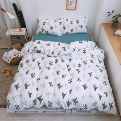 2019新款-牛奶棉四件套 床单款1.8m(6英尺)床 仙人掌