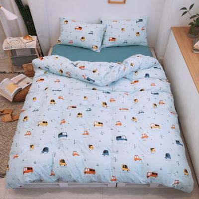 2019新款-牛奶棉四件套 床单款1.5m(5英尺)床 小汽车