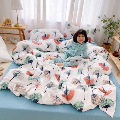 2019新款-牛奶棉四件套 床单款1.8m(6英尺)床 银杏叶白