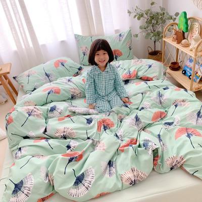 2019新款-牛奶棉四件套 床单款1.5m(5英尺)床 银杏叶绿