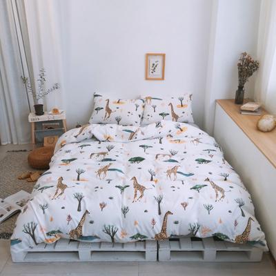 2019新款-牛奶棉四件套 床单款1.8m(6英尺)床 长颈鹿