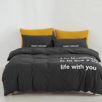 2019新款-针织棉四件套 床单款1.5m(5英尺)床 高级灰