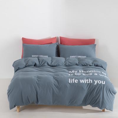 2019新款-针织棉四件套 床单款1.8m(6英尺)床 莫迪蓝