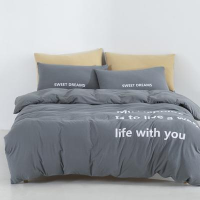 2019新款-针织棉四件套 床单款1.8m(6英尺)床 浅灰