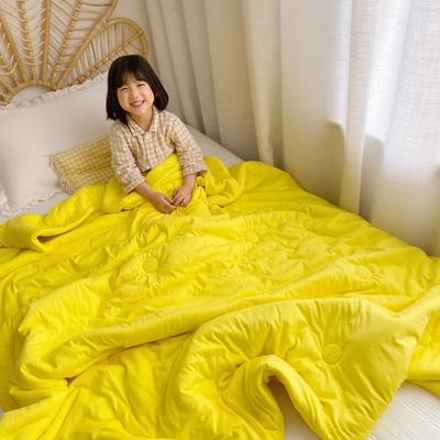 2019新款-有机棉花糖果色童被 120x150cm3.6斤 柠檬黄