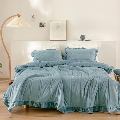 2020新款-韩国绒三件套 1.2m床单款三件套 蓝色