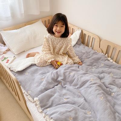 2020新款-韩国棉花糖花边刺绣被被子被芯 120x150cm6斤 樱桃灰