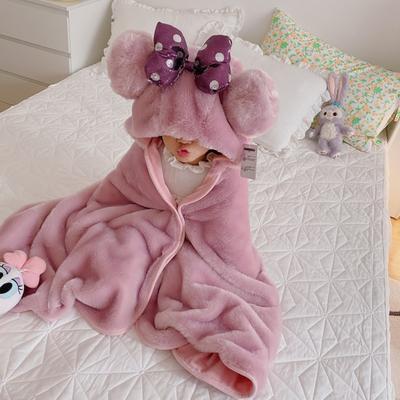 2020新款-羊羔绒披风毯子披肩 70*150cm 兔绒米妮