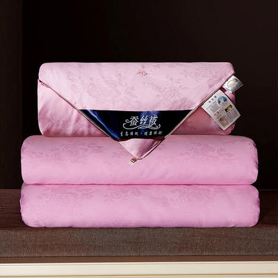 2020新款40牡丹花蚕丝被 150x200cm  3斤 粉色