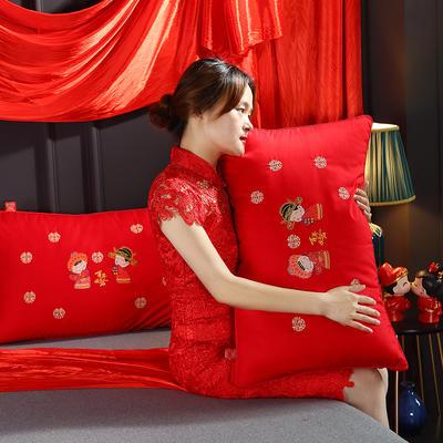 2019新款全棉婚庆羽丝绒枕头枕芯(48*74cm) 婚庆枕大红(48*74cm/只)