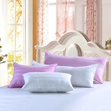 全棉斜纹段条1.2   1.5米双人枕  白色  粉色