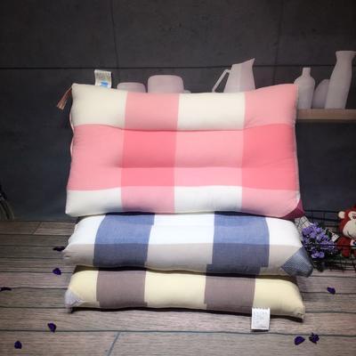 方格水洗护颈枕 方格水洗枕  咖啡 蓝色 粉色 颜色备注