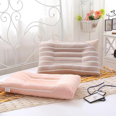 全棉水洗羽丝绒枕芯  水洗棉素行条纹水洗枕 素行条纹水洗枕   咖啡  一只装