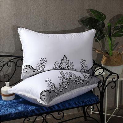 灰色网布刺绣羽丝绒枕 灰色网布刺绣羽丝绒枕