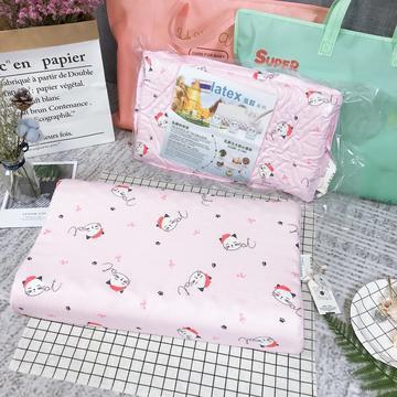 纱布儿童乳胶枕    萌猫  粉色
