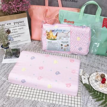 纱布儿童乳胶枕    开心岛猫咪  粉色