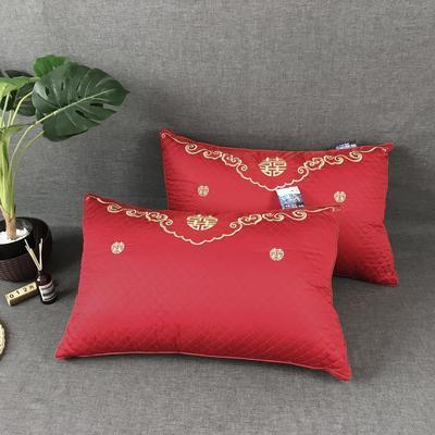 婚庆大红绗缝双喜羽丝绒枕芯枕头 婚庆大红绗缝双喜羽丝绒枕