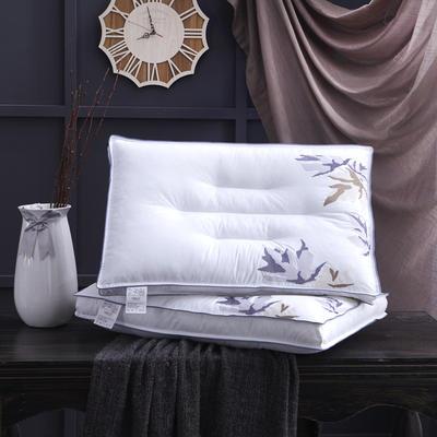 全棉立体刺绣羽丝水洗枕头枕芯 立体刺绣  小树叶