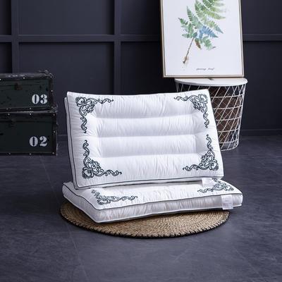 全棉立体刺绣羽丝水洗枕头枕芯 立体刺绣  蓝色