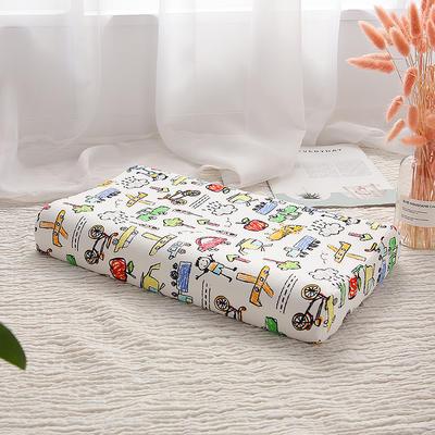 网红 淘宝儿童乳胶枕头 促销泰国学生乳胶枕芯1-3-8-12岁护颈枕 30*50大童款 涂鸦