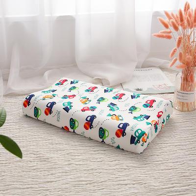 网红 淘宝儿童乳胶枕头 促销泰国学生乳胶枕芯1-3-8-12岁护颈枕 30*50大童款  工程小汽车