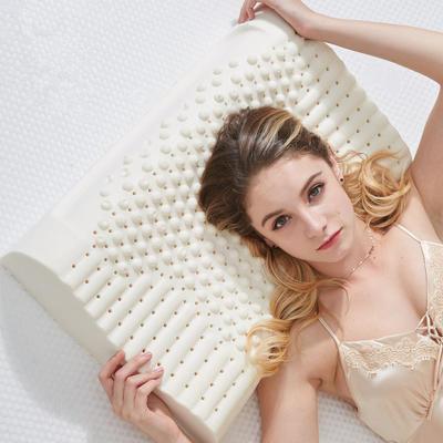 抖音 网红 淘宝促销乳胶枕头 天然泰国乳胶枕芯护颈枕头记忆枕 乳胶按摩款  40*60