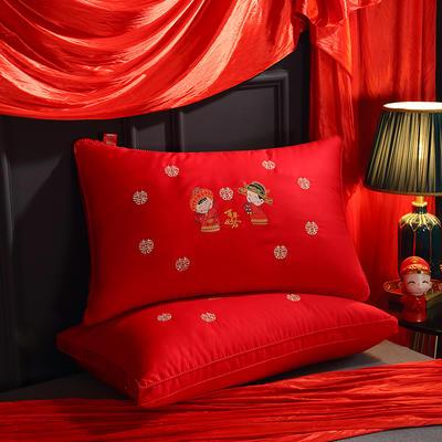 婚庆大红百年好合羽丝绒枕芯枕头 婚庆大红百年好合羽丝绒枕芯枕头