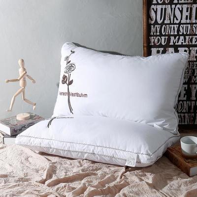 全棉绣花一枝花羽丝绒枕芯枕头 全棉绣花一枝花羽丝绒枕芯枕头