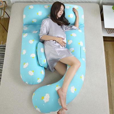 全棉加厚纱布孕妇枕 护腰枕芯 安睡枕芯 白云朵朵-蓝色