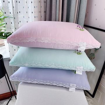新品蕾丝薰衣草花边羽丝绒枕芯枕头