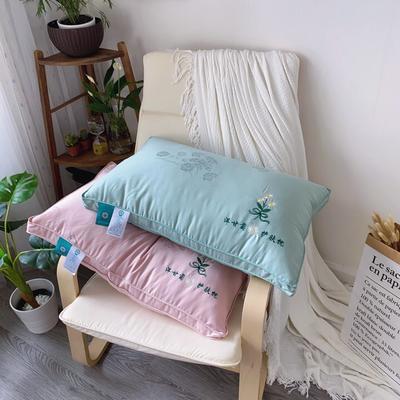 新品洋甘菊刺绣羽丝绒枕芯枕头高弹枕芯 新品洋甘菊刺绣羽丝绒枕芯   绿色