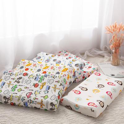 A品泰国进口天然儿童乳胶枕芯护颈椎颗粒平滑按摩成人枕头(送内外套) 28*44卡通儿童枕皮枕套