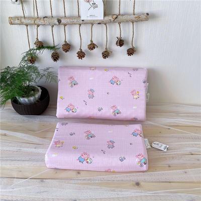 网红推荐 儿童天然乳胶学生枕芯 纱布四季通用幼儿园乳胶枕头 27*44小猪 粉色