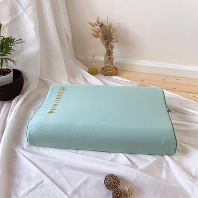 泰国天然乳胶枕芯玻尿酸美容家用单人高低平滑颈椎护颈枕头 字母玻尿酸乳胶  绿色