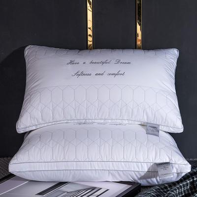 新品全棉臻品梳棉羽丝绒枕 纯棉字母羽丝绒枕 全棉臻品梳棉羽丝绒枕    一只装