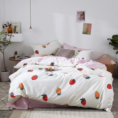 2019新品全棉13070简约北欧风四件套 1.2m床单款三件套 草莓香味