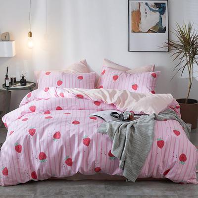 2019新品全棉13070简约北欧风四件套 1.2m床单款三件套 可爱草莓