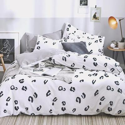 2019新品全棉喷气小清新系列四件套 1.2m床单款三件套 豹纹-白