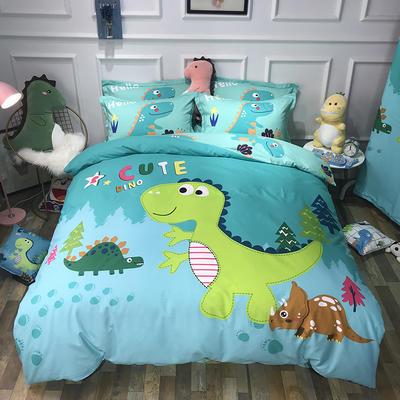2019新款全棉卡通生态磨毛四件套 1.2m床单款三件套 恐龙森林绿