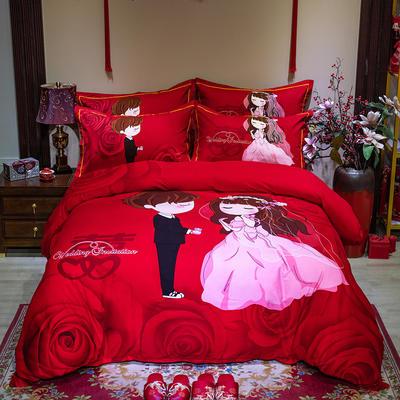 2019新款全棉大红活性婚庆生态磨毛印花款四件套 1.8m床单款 嫁给我