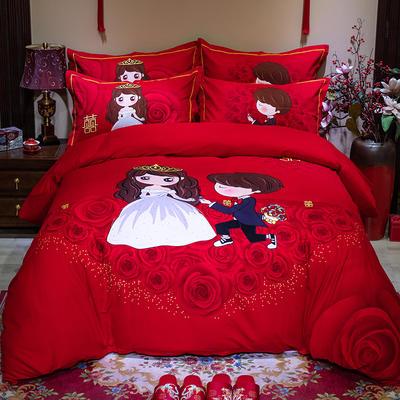 2019新款全棉大红活性婚庆生态磨毛印花款四件套 2.0m床单款 天生一对